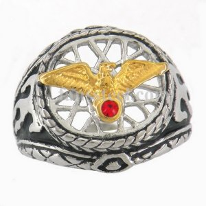 FSR10W81 gold eagle with red stone on the birdnet flame ring