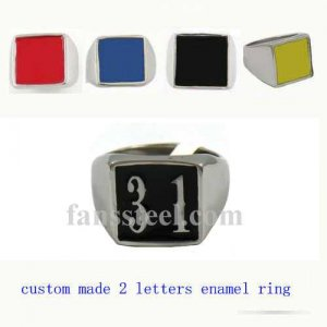 NO31 custom made 2 letters initials enamel name ring custom ring need 3-10days to be shipped