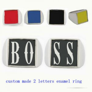BOSS01 custom made 2 letters enamel ring need 3-10days to be shipped