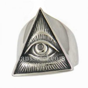 FSR12W82 triangle all seeing eye miracle masonic Ring