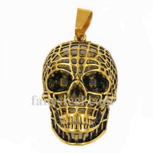 FSP17W15G Gold plating hollow net grid willy G skull biker Pendant