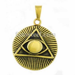 FSP16W84G Gold plating with black background sunshine triangle all seeing eye gods eye masonic pendant