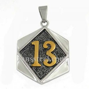 FSP17W25G Golden plating number thirteen on the square plate biker pendant