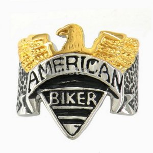 FSR10W13 Gold eagle American biker ring