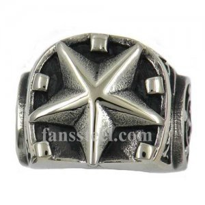 FSR12W23 five-pointed star helmet horseshoe heel military ring