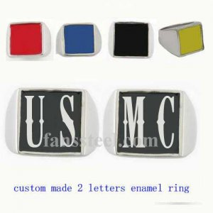 USMC01 custom made 2 letters initials enamel name ring custom ring need 3-10days to be shipped