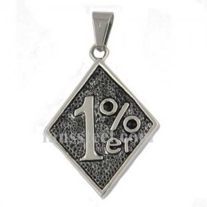 FSP17W27 number one percenter on the square plate biker pendant
