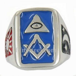 FSR11W74BL enamel all seeing eye with moon and sun square ruler masonic ring