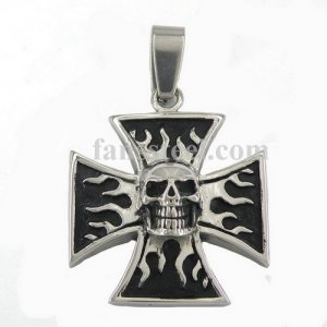 FSP16W56 iron cross skull with flame biker pendant FSP16W56