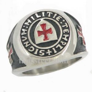 FSR11W86 shield knights templar red corss masonic ring