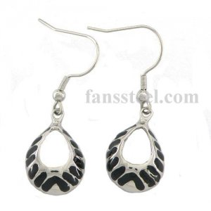 Stainless steel Earring black enamel twill water drop earring FSE14PR8