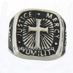 FSR11W13 justice mercy humility mic bible cross ring
