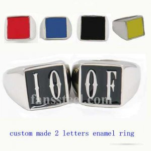 IOOF01 custom made 2 letters initials enamel name ring custom ring need 3-10days to be shipped