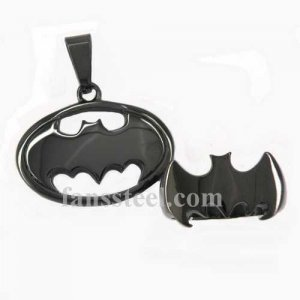 T390009 black plating BAT RING AND PENDANT SETS