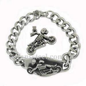 FST00W15 Stainless steel punk vintage jewelry skull riding motor cycle biker pendant and bracelet sets