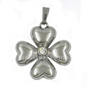 FSP15W06 Stainless SteelJEWELRY 4 hearts flower pendant with stone centre