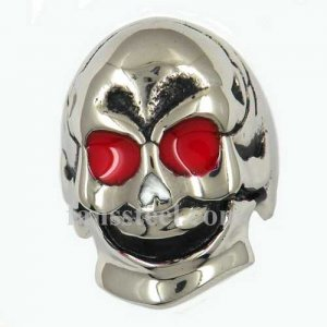 FSR09W03R Stainless steel mens jewelry red eyes smiling ghost skull gothic ring