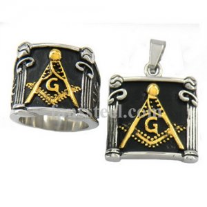 Master Masons Pillar with gold color comapss and square masonic Ring and pendant sets FST00W01