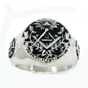 FSR10W21 Masonic ring cross skull sunshine ruler square paster master mason ring
