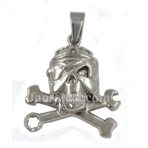 FSP14W65 Stainless SteelJEWELRY Pirate Skull Tool Wrench Crossbones Pendant