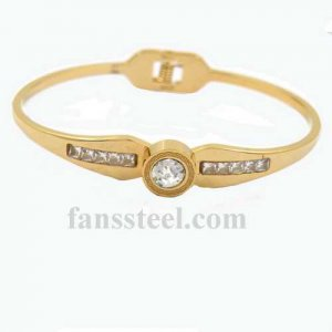 FSPRB21 crystal inlay love BANGLE springs set can be opened