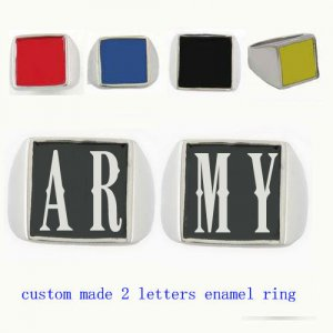 ARMY01 custom made 2 letters enamel ring need 3-10days to be shipped