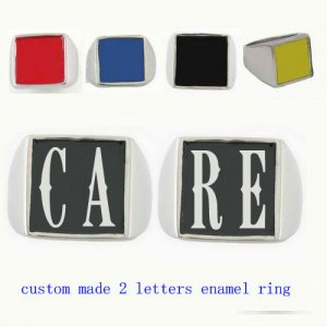 CARE01 custom made 2 letters enamel ring need 3-10days to be shipped