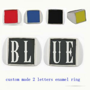 BLUE01 custom made 2 letters enamel ring need 3-10days to be shipped