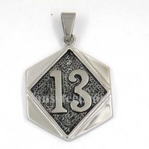FSP17W25 number thirteen on the square plate biker pendant
