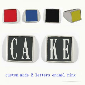 CAKE01 custom made 2 letters enamel ring need 3-10days to be shipped