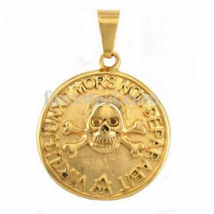 FSP16W80G Gold plating cross bone power forward death never separate willy G skull masonic pendant