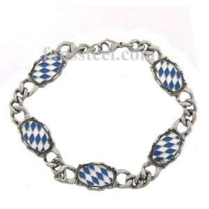 Stainless steel bracelet blue and white enamel diamond link bracelet FSB00W16