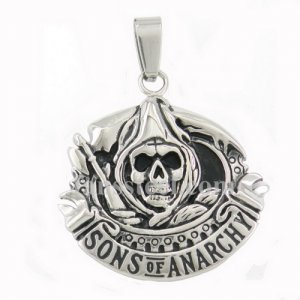 FSP16W29 Sons of anarch ghost with reaphoot Grim Reaper biker pendant FSP16W29