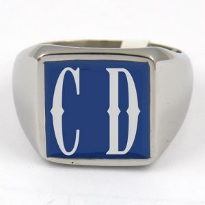 CD03 custom made 2 letters initials enamel name ring custom ring need 3-10days to be shipped