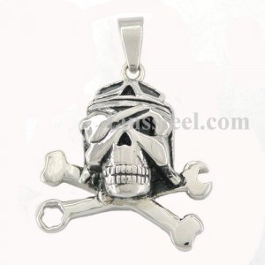 FSP46W5B pendant corss bone and spanner/wrench one eye skull pendant