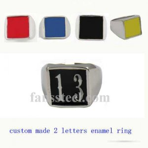 NO13 custom made 2 letters initials enamel name ring custom ring need 3-10days to be shipped