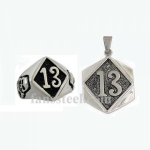 FST00W19 Stainless steel punk vintage jewelry number THIRTEEN gothic biker ring and pendant sets
