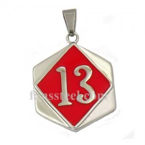 FSP17W25R number thirteen on the square plate biker pendant