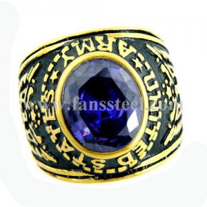FSR10W26 military ring United states Army American eagle spirit ring violet stone CZ