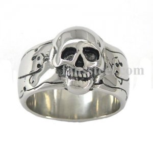 FSR01W20B ring Skull Face Spiral Flower Grape Vine Medallion Ring
