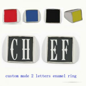 CHEF01 custom made 2 letters enamel ring need 3-10days to be shipped