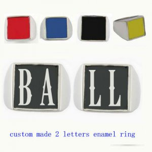 BALL01 custom made 2 letters enamel ring need 3-10days to be shipped
