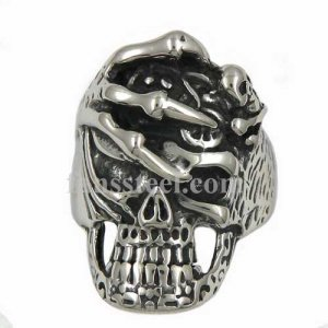 FSR13W82 claw press on skull ring