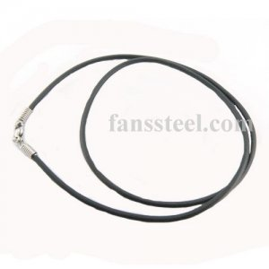 Stainless steel lobster leather chain necklace FSCH00W56