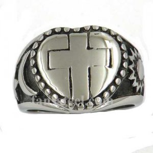 FSR12W12 star moon sun heart Jesus Christ Crusaders Religious cross ring