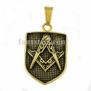 FSP16W79GB Gold plating with black background Shield shape square and compasses masonic pendant