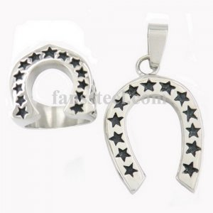 U Shape Journey Star Lucky Horseshoe Medallion Ring and pendant sets FST00W08