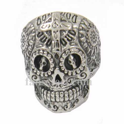 FSR13W15 cross on the head gear eye technical sunflower ghost skull biker ring - Click Image to Close