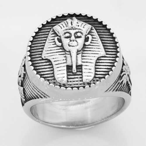 FSR14W32 palm tree indian chief head ring - Click Image to Close