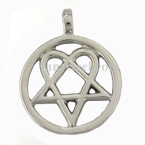 Stainless steel jewerly him heartagram in the round live circle pendant fsp06w04g fsp06w04 him heartagram in the round live circle pendant aloadofball Image collections